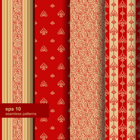 claret red: Set of 4 seamless pattern. Ornamental flowers. Vector.