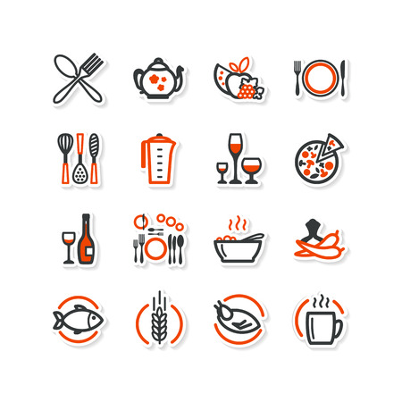 Interior, kitchen, food. Set of abstract pictures. A vector. Vector