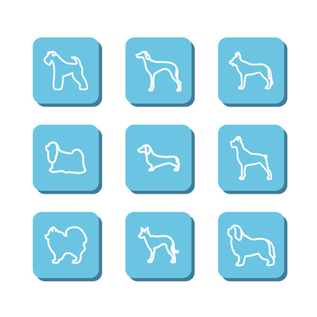 the watchman: Set with icons - dogs. A vector. Illustration