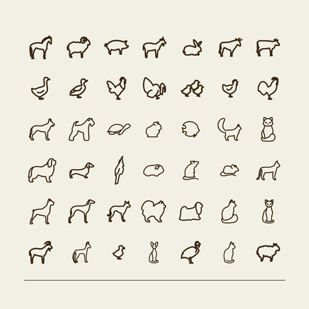 bull dog: Set with icons - animals in house and on a farm. A vector. Illustration