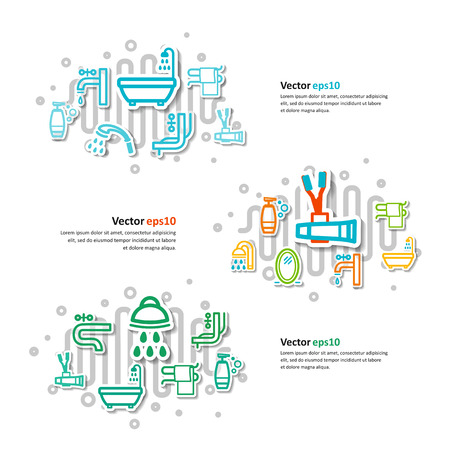 bathroom equipment: Collage with icons - a bathroom equipment. A vector. Illustration