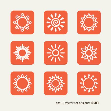 granizo: Set con los iconos - el sol. Un vector.