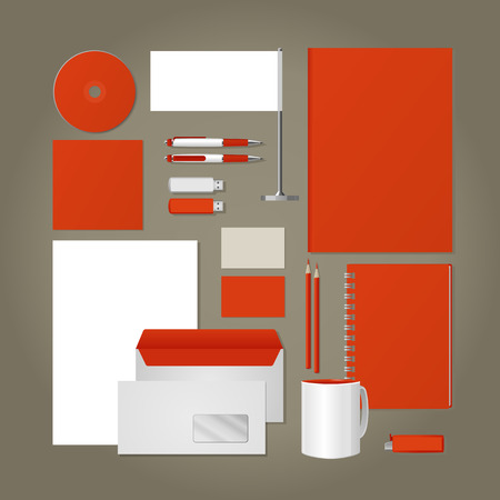 flash card: Corporate style -  business cards, a disk, a flag, the handle, a flash card, the form,  an envelope, a mug, a notebook, a pencil. Vector.