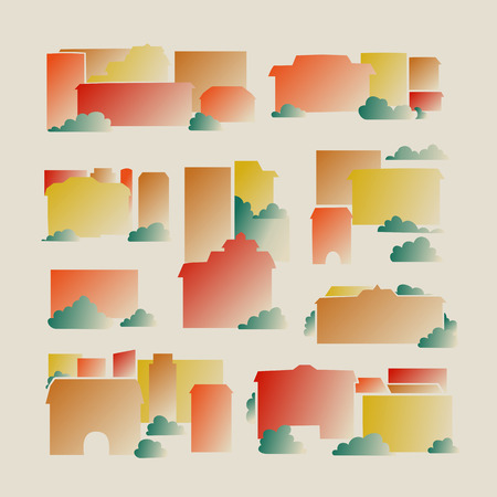 areas: Set - the abstract city - houses, areas. Vector. Illustration