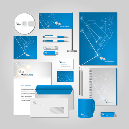 sd: Blue corporate style -  business cards, a disk, a flag, the handle, a flash card, the form,  an envelope, a mug, a notebook, a pencil. Vector.