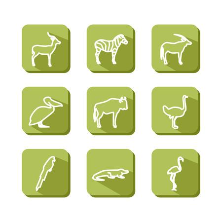 damhirsch: Set mit Symbolen - Tiere und V�gel. Savanna. Ein Vektor.