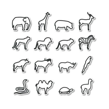 Set met pictogrammen - dieren en vogels. Savanna, Bergen. Een vector.
