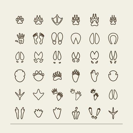 cabras: Set con los iconos - huellas de animales y aves. Un vector.
