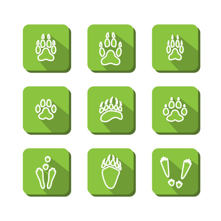 traceability: Set with icons - traces of animals. A vector. Illustration