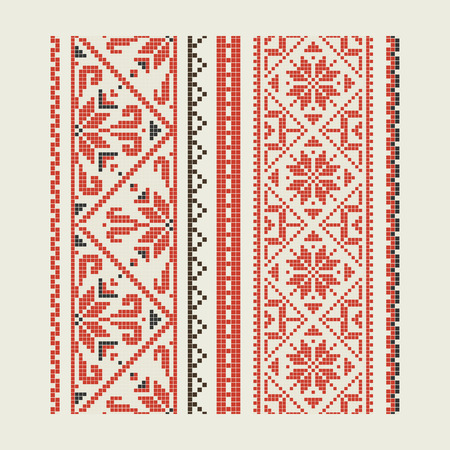 Set of ethnic patterns - an embroidery. A vector.