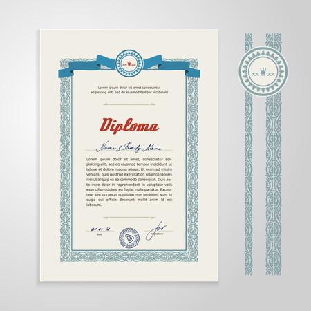Certificaat, diploma, design template. Een vector.