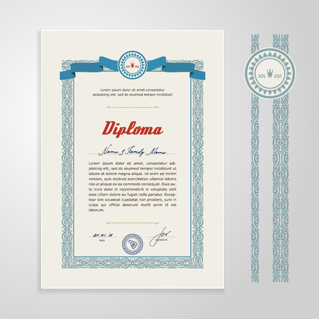 diploma: Certificate, Diploma, design template. A vector.