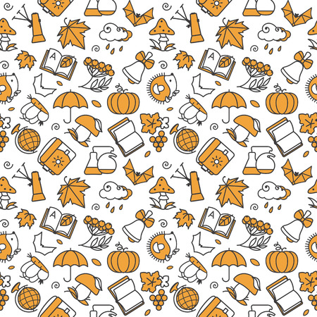 stuffing: Seamless texture with icons - autumn. A vector.