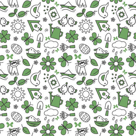 stuffing: Seamless texture with icons - spring. A vector. Illustration
