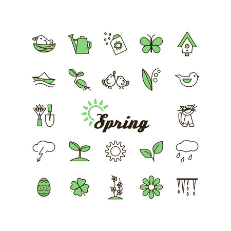 april clipart: Season - spring. Set of pictures. A vector. Illustration