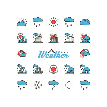 warmly: Set with icons - weather.  A vector.