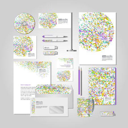 flash card: Corporate style -  business cards, a disk, a flag, the handle, a flash card, the form,  an envelope, a mug, a notebook, a pencil. Colourful explosion. Vector. Illustration