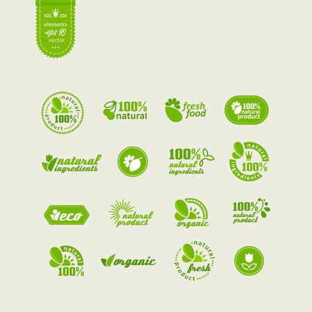 Set van elementen voor ontwerp - ecologie, eco-vriendelijke natuurlijke producten en levensmiddelen. Een vector. Stock Illustratie