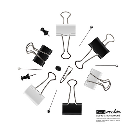 office accessories: Set of a office accessories for your design - paper clips, carnations. Vector. Illustration