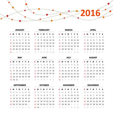 scheduler: Calendar grid for 2016