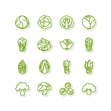 Set of icons - a leafy vegetables  イラスト・ベクター素材