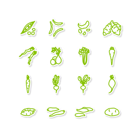 yam: Set of icons - vegetables. A vector.