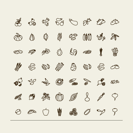 Set of icons - vegetables. A vector.