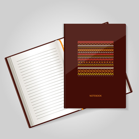 log book: The form for a notebook, the daily log. Corporate identity.