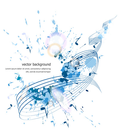 Abstract musical background - notes, paint spots. Vector.