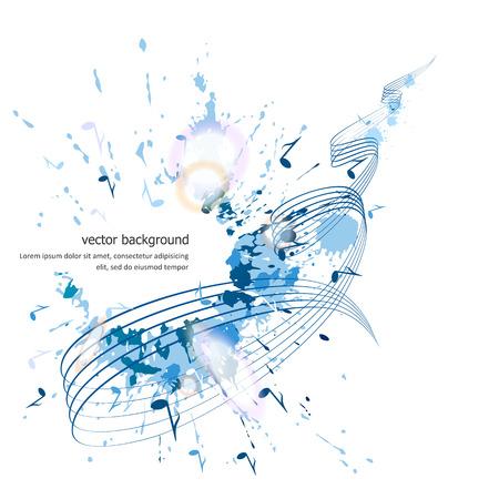 Abstracte muzikale achtergrond - noten, verfvlekken. Vector.