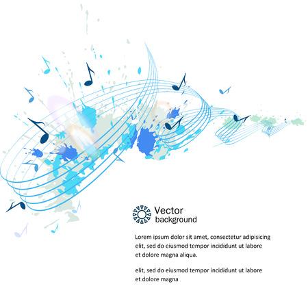 notas musicales: Resumen de fondo musical - notas, manchas de pintura.