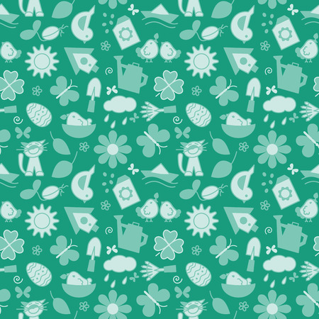 Seamless texture with icons - spring. A vector.  イラスト・ベクター素材