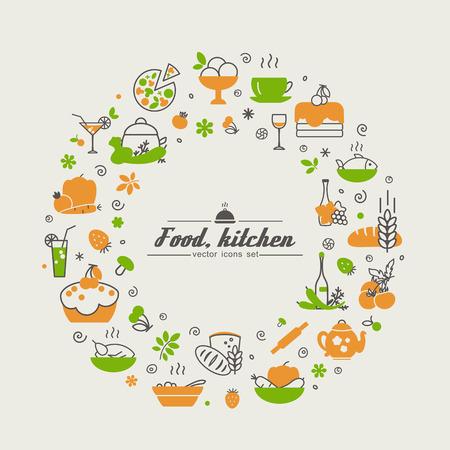 キッチン。食品。抽象画のセットです。ベクトル。