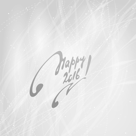 celebratory: Happy 2016 Easy background with snowflakes and inscription. A vector. Illustration