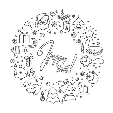 christmas backgrounds: Backgrounds with icons - New Year, Christmas, winter. A vector. Illustration
