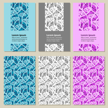 thickets: Set of business cards - thickets of trees. Vector.