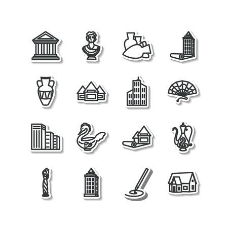maestro: Set of icons - architecture, sculpture, decorative arts Illustration