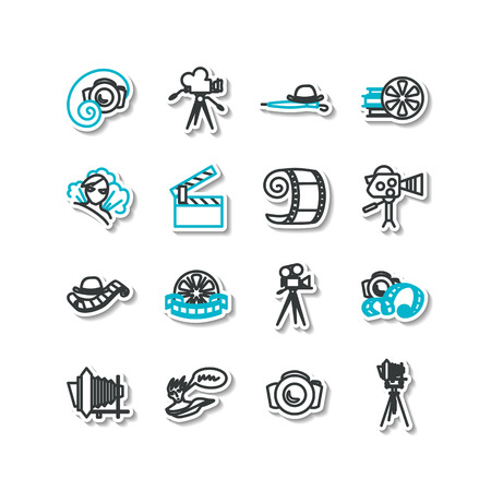 silent: Set of icons - cinema, silent movie, photo art, cartoon.
