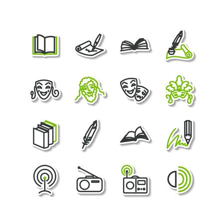 maestro: Set of icons - arts. A literature, theater, radio.