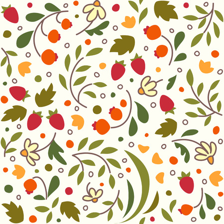 stuffing: Seamless texture with flowers and berries. A vector. Illustration
