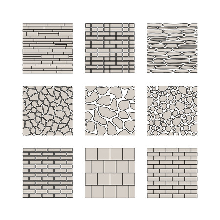 stone wall: Simple seamless texture - brick, stone wall. Vector set.