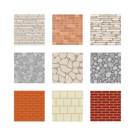 flagstone: Simple seamless texture - brick, stone wall. Vector set.