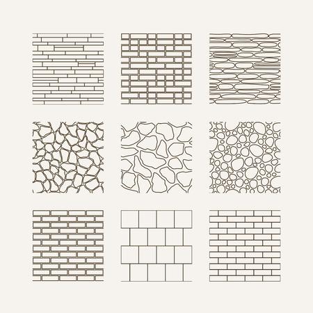 Eenvoudige naadloze structuur - baksteen, stenen muur. Vector set.