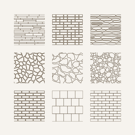 Simple seamless texture - brick, stone wall. Vector set.