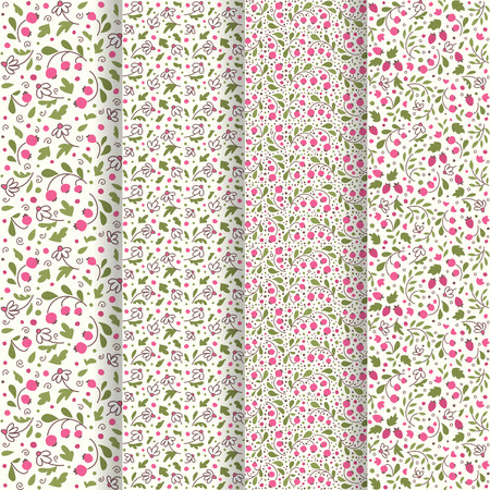 cowberry: Four seamless textures in the general style. Flowers and berries.