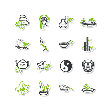 Set di icone - Spa, bellezza, massaggi. Un vettore.