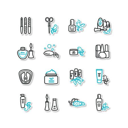 pedicure set: Set of icons - beauty, manicure, pedicure. A vector. Illustration