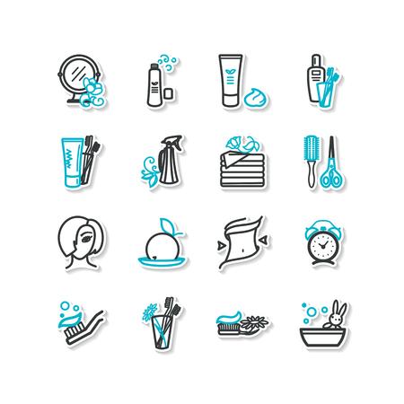 aseo personal: Conjunto de iconos - la belleza, la higiene personal. Un vector.