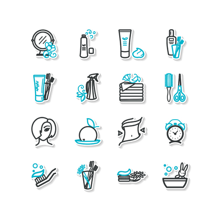 personal hygiene: Set of icons - beauty, personal hygiene. A vector. Illustration
