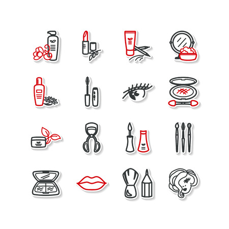 pomade: Set of icons - beauty, cosmetics, makeup. A vector.